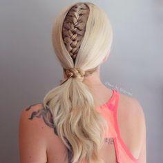 Braided Ponytail Ideas: 40 Cute Ponytails with Braids Big Box Braids Hairstyles, Sporty Hairstyles, Kids Braided Hairstyles, Braided Ponytail, Trending Hairstyles, Diy Hairstyles, Blonde Hairstyles, French Braid Styles, Unique Braids
