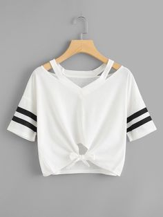 Shop Cut Out Neck Varsity Striped Knot Front Tee online. SHEIN offers Cut Out Neck Varsity Striped Knot Front Tee & more to fit your fashionable needs. Teen Fashion Outfits, Girl Outfits, Summer Outfits, Ootd Fashion, T Shirt Fashion, Fashion Black, Fashion Ideas, Fashion Dresses, Fashion Trends