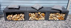 houtopslag u element - Lilly is Love Outdoor Firewood Rack, Outdoor Shelves, Firewood Storage, Garden Sofa, Garden Furniture, Back Gardens, Outdoor Gardens, Plantation, Chickens Backyard