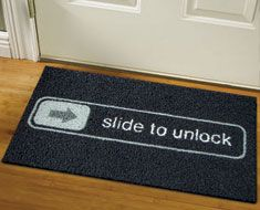 If you slide your feet across this doormat, it will open your door! OK, it's not true, but even without this interactived still very cool.  $49.90