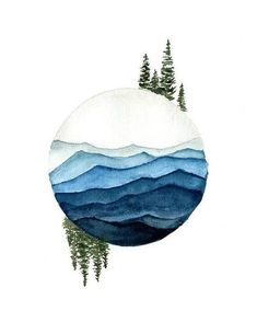 Balance and Tranquility - Watercolor Print A calming, earthy wate. - Balance and Tranquility – Watercolor Print A calming, earthy watercolor illustrati - Art And Illustration, Watercolor Illustration, Art Inspo, Kunst Inspo, Painting Inspiration, Watercolor Wave, Watercolor Trees, Tattoo Watercolor, Watercolor Landscape