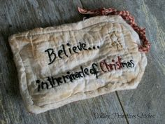 Primitive Christmas Hang Tag Hand Stitched by valleyprimitives, $5.00