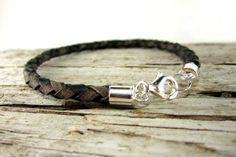 Mens Leather Bracelet with Sterling Silver Clasp. Braided / Bolo Style Antique Distressed Rustic Brown Leather