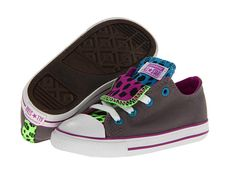 3a3c3e5f787 Converse Kids Chuck Taylor® All Star® Double Tongue Ox (Infant Toddler)  Charcoal Multi - Zappos.com Free Shipping BOTH Ways