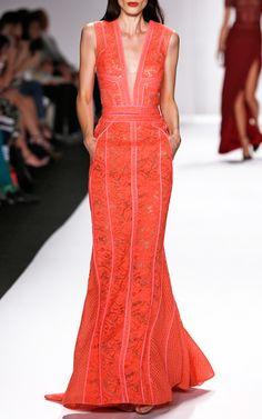 Paneled V-Neck Sleeveless Gown by J. Mendel for Preorder on Moda Operandi