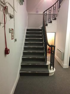 Carpet Tiles with Nosings Installed to Stairs #interiordesign #homedecor #carpet #staircase #carpettiles