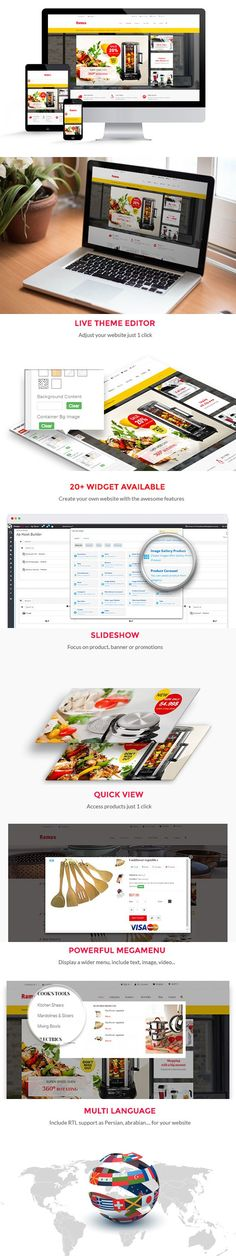 Modern, clean, attractive and simple are the four most exact words to describe Kitchenware Prestashop theme. It is stylish responsive and very easy to use. Bootstrap Template, Mega Menu, Kitchen Ware, Website Template, Blog, Make It Yourself, Templates, Easy, Design