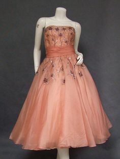 OUTSTANDING Beaded & Sequined Rose Organdy 1950's Cocktail Dress - Vintageous, LLC