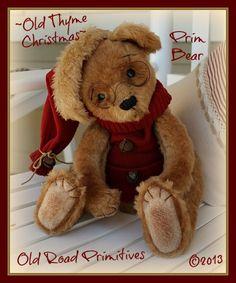 ***NEW*** Vintage Old Thyme Christmas Prim Bear Pattern-Prim Bear,Primitive Bear,Primitive Christmas Bear,Bear Pattern, Old Road Primitives,...