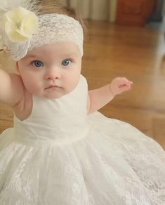 Baptism Lace Dress with Headband Baby Christening Gowns, Baptism Dress, Baby Birthday Dress, Birthday Dresses, Blessing Dress, Baby Bonnets, Adorable Babies, Baby Comforter, White Headband