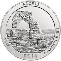 2014 P America The Beautiful Arches Nat. Park 5 Oz Silver Unc. Collectors Issue