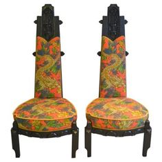 Check out this item at One Kings Lane! Gothic Chairs w/ Dragon Fabric, S/2