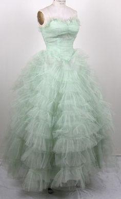 1950s aqua tulle formal dress