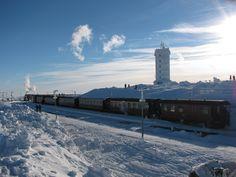 Die Brockenbahn im Bahnhof auf dem Brocken im Harz
