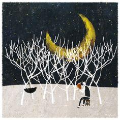 Reading to the Moon / Leyendo con la luna (ilustración de Akira Kusaka)