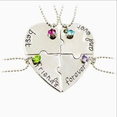 Best Friends Forever and Ever 4 Piece Heart BFF Friendship Necklaces - 4 Piece Best Friends forever and Ever Heart Necklace - 4 Piece Heart BFF Necklaces Bff Necklaces, Best Friend Necklaces, Best Friend Jewelry, Love Necklace, Matching Necklaces, Heart Pendant Necklace, Pendant Jewelry, Letter Necklace, Rhinestone Necklace