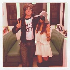 Pin for Later: Celebrity Couples Halloween Costumes Jamie Chung and Bryan Greenberg as Yoko Ono and John Lennon Celebrity Couple Costumes, Best Couples Costumes, Celebrity Couples, Diy Costumes, Costume Ideas, Group Costumes For 4, Zombie Costumes, Crazy Costumes, Homemade Costumes
