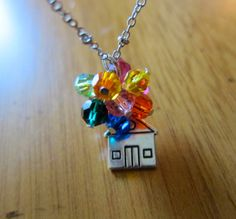 """Disney's UP Inspired Necklace. Adventure is out there! House with Swarovski crystal """"balloons"""" by WithLoveFromOC, $25.00 & free shipping."""