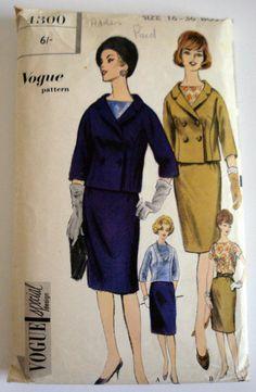 1960s Dress Pattern Vogue 4300 Bust 36 Suit  by MercuryHandmade, £7.00