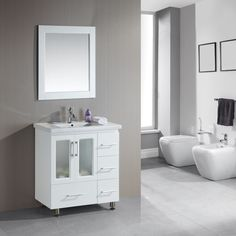 "Stanton 32"" Single Sink Vanity Set with Drop-in Sink in White"