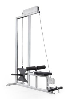 elitefts™ E-Series Plate Loaded Lat Pulldown and Low Row  Features: Adjustable 8'' foam roller Low pull cable quickly attaches for low rows  Specifications: 2