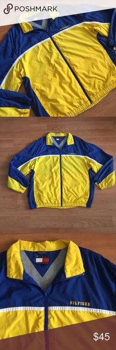 """Tommy Hilfiger lined full zip Windbreaker Jacket Great TH Windbreaker! Yellow and blue colors. Full zip front with warm Heather gray lining. Tag size large. Armpit to armpit- 25"""" shoulder to shoulder- 22"""" neck to bottom- 28.5"""". Nice condition! Thanks! Tommy Hilfiger Jackets & Coats Windbreakers"""