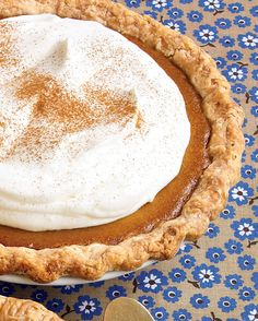 Easy Pumpkin Cream Pie   Martha Stewart Living - The whipped-cream topping is stabilized with gelatin so it doesn't collapse. The entire pie can be assembled up to a day ahead.