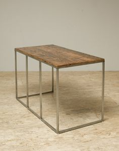 "Shenandoah Desk by Blake Avenue | Century old reclaimed Douglas Fir and recycled raw steel. Fine Sanded Top or Finished With All Natural Shellac and Wax.  30""h x 24""d x 48""w"