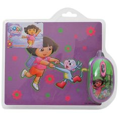 """Dora the Explorer Mouse and Mousepad Kit. This Sakar Optical Mouse and Mouse Pad Kit will be a favorite among Dora the Explorer fans! The mouse features accurate scrolling and works with USB equipped computers. This Dora Mouse & Mousepad Kit features both a mouse and mousepad with pictures of Dora the Explorer.The mouse pad features """"""""Stay in Place"""""""" coating to prevent slipping. Includes both mouse and mousepadPictures of Dora the ExplorerCompatible with PC"""