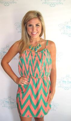 peach & green chevron dress