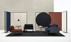 Lievore Altherr — NEW PROJECTS MILANO 2017: new Arcos Collection for Arper here shown with Parentesit wall panels and Steeve sofa.