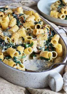 Gratinert pasta med spinat og bacon Rigatoni, Chorizo, Mozzarella, Cosy, Bacon, Cold, Pork Belly