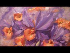 Мастер-класс на двух холстах. Фиолетовые орхидеи. Master class on two ca...