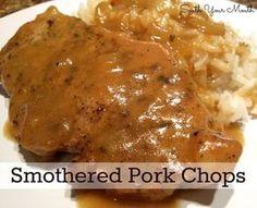 Pork chops smothered in pan gravy and onions. Dutch Oven Pork Chops, Crock Pot Pork Chops, Pork Sirloin Chops, Boneless Pork Loin Chops, Instant Pot Pork Chops, Pork Chops And Gravy, Fried Pork Chops, Baked Pork, Pork