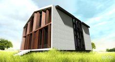 Проект загородного дома: архитектура, 2 эт | 6м, жилье, минимализм, 100 - 200 м2, фасад - дерево, каркас - ж/б, коттедж, особняк #architecture #2fl_6m #housing #minimalism #100_200m2 #facade_wood #frame_ironconcrete #cottage #mansion