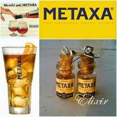 Elixir Crafts, earrings, drink. metaxa