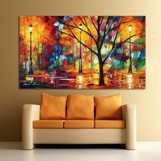 Colorful Impression In Night Park Abstract Palette Knife Oil Painting Canvas Wall Art Cafe,Bar or Hotel Decoration Home Confort, Frames For Canvas Paintings, Buddha Painting, City Art, Acrylic Art, Canvas Wall Art, Painting Canvas, Art Pictures, Cafe Bar