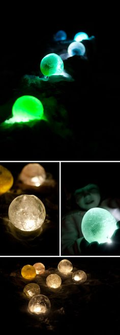 Easy DIY Ice Luminaries. You could use this to light up your walkway at the house or I bet I could find a way to use this for a winter unit study..lol. So easy just takes balloons and die and some lights.
