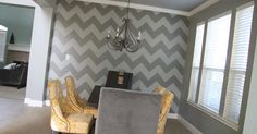 How about a big round of applause for my patient, engineering brained husband who so graciously helped me create my dream of a chevron wall...