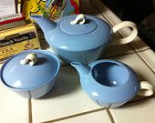 Homer Laughlin Skytone Tea Service, Teapot, Sugar Bowl, Creamer, In Mint Condition, Genuine Mid-century Modern China