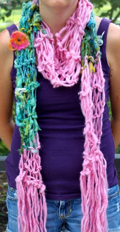 Bulky Hand Knit Scarf in Green and Pink  with by bpenatzer on Etsy, $89.00