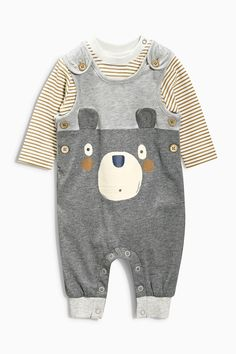 Buy Bear Jersey Dungarees Set (0-18mths) from the Next UK online shop