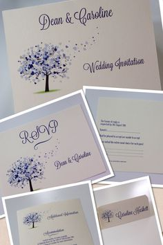 Love tree periwinkle wedding invite RSVP and placecard