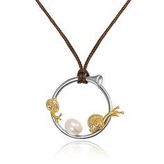 Schnecke 925 Sterling Silber natürlichen gelber Saphir perle Halskette Ketten von Dormith®