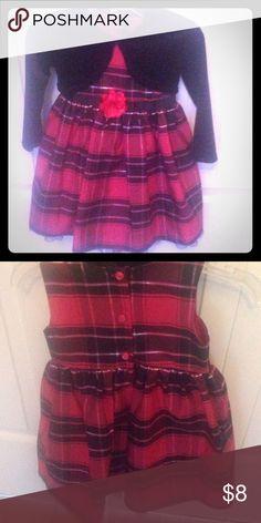 Pink Plaid Dress Pink Plaid Dress with velour shrug Carter's Dresses Formal