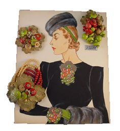 Larry Austin original watercolor advertising illustration for Haskell flattened glass beads and gold tone nasturtium leaves bracelet and clip.