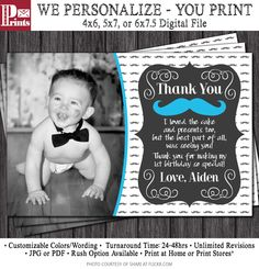 Mustache Thank You Card - Mustache Birthday Thank You Card by PuggyPrints on Etsy