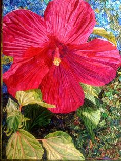 "Kristin's Hibiscus, 37"" x 26"", art quilt by Andrea Brokenshire. 2009. AMB Fiber Art and Design"