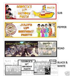 THE BEATLES Birthday Party water bottle label wrappers .  Sgt. Pepper, Yellow Submarine, Abbey Road, Black & White