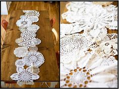 we can buy different size doilies from michael's and tack them together to put across center of tables and then put centerpieces on top. (If we dont go with ombre tablecloth option)